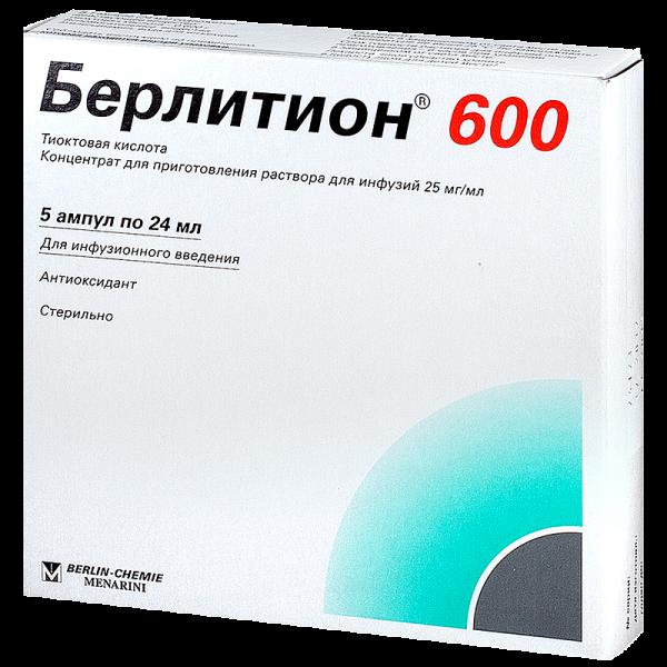 Берлитион 600 конц.д/пригот.р-ра д/инф.25мг/мл амп.24мл №5 90441